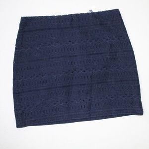 NWT Gap Navy Blue Women's Crochet Pattern Skirt 10